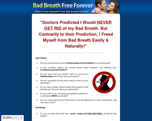 Bad Breath Free Forever ~ Brand New With A 13.2% Conversion Rate!