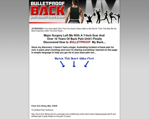 Back Pain… 80 % Of Adults Have It… This Is The Solution!