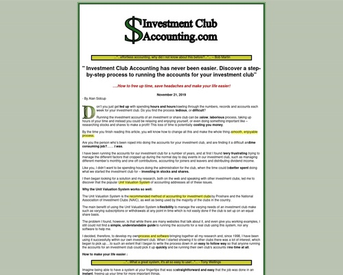 Easy Accounting For Investment Clubs