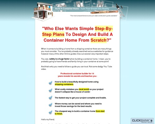 New: Build A Container Home – Green Product Paying 75% Commission!