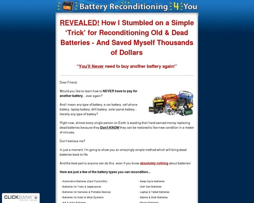 Battery Reconditioning 4 You – 100% Commission!