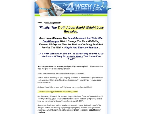 4 Week Diet – Supercharged Weight Loss