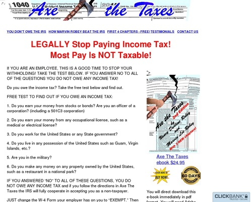 Axe The Taxes Ebook Shows How To Eliminate Most Income Taxes