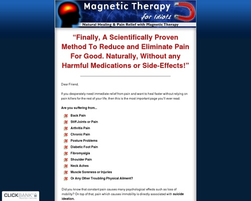 Magnetic Therapy For Idiots ~ Crazy High Conversions!
