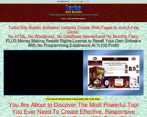 """Turbo Site Builder Software """"resale Rights"""""""
