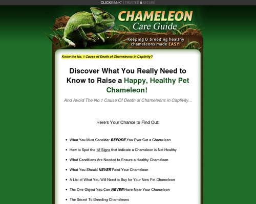 Chameleon Care Guide – Only Product In Booming Niche – 75% Commissions