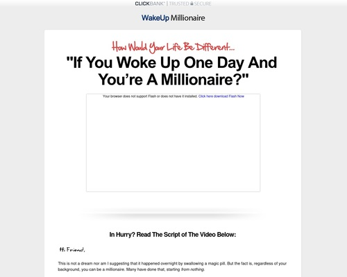 Wakeup Millionaire: New Self Improvement & Wealth Creation Product