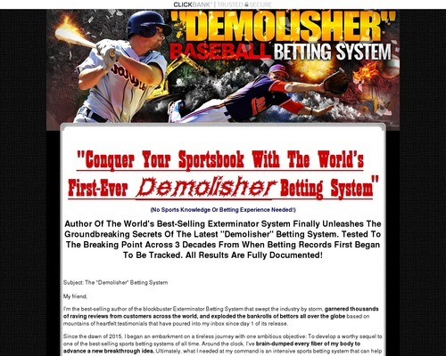 The Demolisher Sports Betting System By Author Of The #1 System