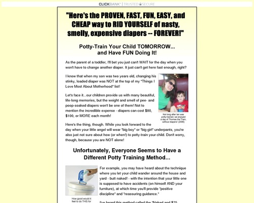 Potty Training Book Earns 75%, Great Pitch Page, Great Banners/ads!