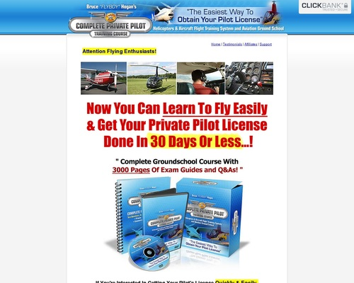 Completepilot.com – Get Your Private Pilot License! (75% Comms+upsell