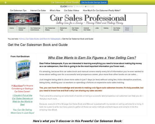 Make A Six Figure Income Selling Car, I Did, You Can Too!
