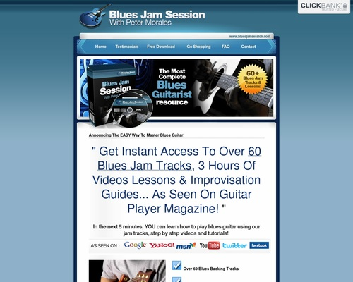 Bluesjamsession.com – 6% Conversions On This Blues Guitar Package
