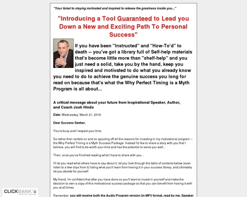The Why Perfect Timing Is A Myth Success Pack!