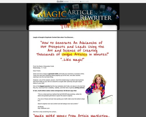 Magic Article Rewriter And Magic Article Submitter