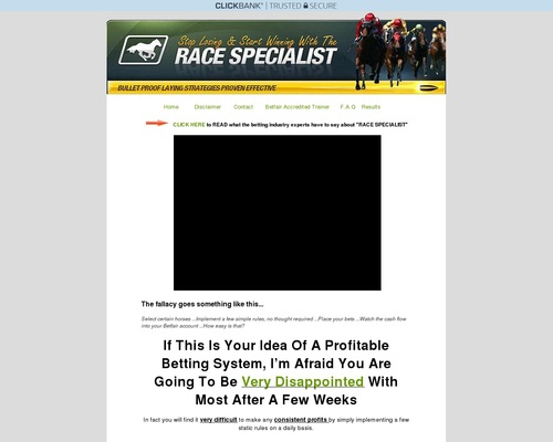 Race Specialist Definitive Horse Racing Method For Low Risk Winning