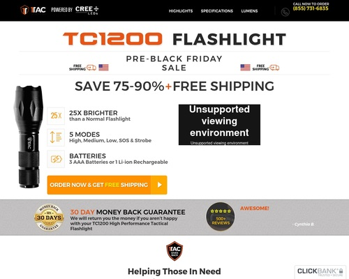 Tactical Flashlight, Camping, Survival & Outdoor Gear
