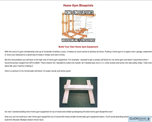 Home Gym Blueprints, Build Your Own Home Gym Equipment